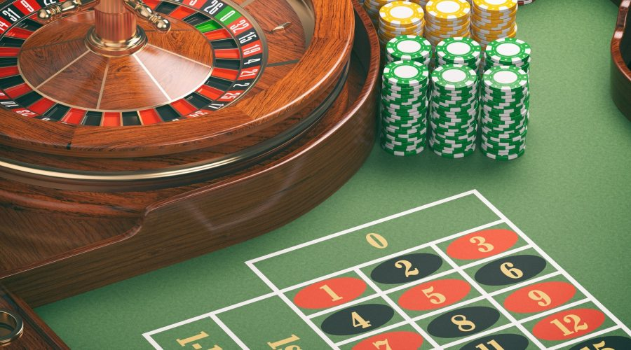 Gambling or casino background concept. Casino roulette wheel wit